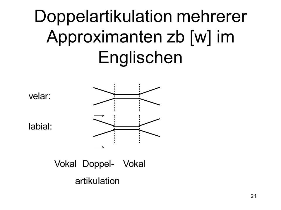 Doppelartikulation mehrerer Approximanten zb [w] im Englischen
